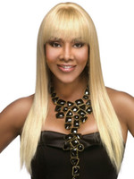 Wholesale Luxurious Human Hair Yaki Straight Blonde Full Lace Wigs with Full Bangs