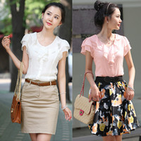 Wholesale Korean Ladies Chiffon Ruffle Blouse - Korean Style Ladies Flounce Blouses Shirt Round Neck Short Sleeve Summer Work Blouses Shirt Slim-Fit White Pink Blouses S M L XL CHD0401