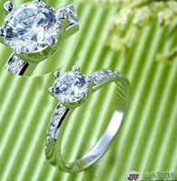 Wholesale 925 Silver Wedding Crown Rings for Women Simulated Diamond Finger Jewelry Engagement His and Hers Promise Ring Sets J048