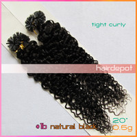 Chinese Hair u tip hair extensions - free UPS quot b Curly Keratin Human Hair Extension U Tip natural black g s Pre bonded Nail Hair Extensions A Grade