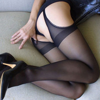 Wholesale Details about Sexy Womens Black Stockings Crotchless Stretchy Sheer Pantyhose Socks Lingerie