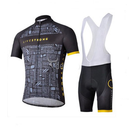 Wholesale Livestrong Pro Men s Summer Cycling Jersey Sets Bicycle Clothes Bicycle Wear Bike Short Sleeve Jersey Bib Shorts Black