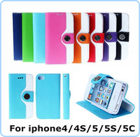 apple mouse sale - For Iphone S C G S Fashion Mouse Grain Buckle Rhinestone Wallet Leather Pouch Credit Card Slot Stand Holster skin cover case Sale