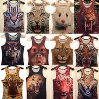 Wholesale New Men D Animal Tiger Cat king pharaoh Print Sleeveless Vest TOP T shirt Tank Top