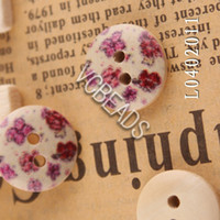 Buttons wood craft - Cute Holes Wood Flower Printed Wooden Buttons Floral Painting Wood Round fit Clothes Accessories Sewing Embroidered or DIY Craft