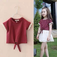 Wholesale High Quality New Girls Children Summer Cotton Short Sleeve T shirt Girls Pure Color T Shirts With Floral Edge Kids Casual T shirt