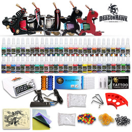 Wholesale Complete tattoo starter Kits gun machines inks power supply disposable needles grips pedal arrive within days D173DH