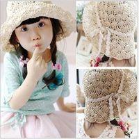 Wholesale Handwork weaving Children Straw Caps Baby Girls sandbeach Hat Summer collapsible Cap Baby Kids Sun Hats TX419