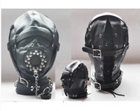 Wholesale New arrival black pu leather full cover hoods sex toy adult novelty bondage gear