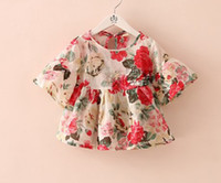 Wholesale New Arrival Summer Children Girls Fashional Short Sleeve T shirts Kid s Cute Floral Tee Shirt Child Lovely Round Collar Tops I0409