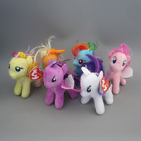 Wholesale Cute My Little Pony Keychain Cartoon Keyrings Collection Plush Mini Figure Toys Key Chain Gifts
