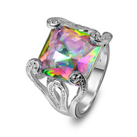 New Arrival Statement Rings For Women Gorgeous Rainbow Charm...