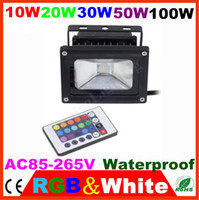 10W/20W/30W/50W//100W LED IP65 4pcs lot led Landscape light 10W 20W 30W 50W 100W white RGB FloodLight Garden square street security lamp Outdoor wall washer IP65 85-265V