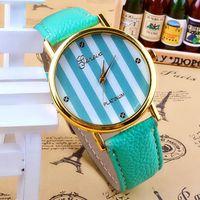 Wholesale 10 colors New Fashion Leather GENEVA Watch For Ladies Women Dress Watch Quartz Watches Color Strips Dial Super Design Casual Gene w1632
