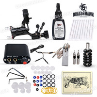 Professional Kit starter beginner - Beginner tattoo starter rotary Kit dragonfly machine black ink power supply needles set arrive with days D1012DH