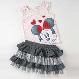 Wholesale Beautiful summer Minnie mouse girls clothing set piece set Minnie cotton vest tutu skirt Fashion girl suit
