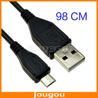 1415400004 For Samsung  Micro USB To USB2.0 Male To Male Data Sync Charging Cable For Samsung Galaxy S2 S3 S4 HTC BlackBerry 98CM Black 200pcs lot Free DHL FEDEX