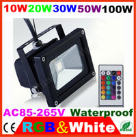10W/20W/30W/50W//100W LED IP65 10pcs lot NEW 2014 led 10W 20W 30W 50W 100W White RGB Floodlight Garden Landscape square Yard street park lamp Outdoor projector Lights