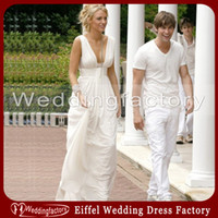 A-Line Reference Images V-Neck White Grecian Wedding Dress A Line V Neck Ruched Chiffon Ankle Length Bridal Gown