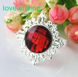FREE SHIPPING-50PCS high quality Crimson Red Gem Napkin Ring Napkin holder Wedding Bridal Shower Favor
