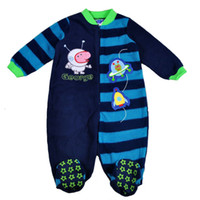 Boy Spring / Autumn polor fleece 7 pcs lot 2014 New Arrival Baby Boys Romper Peppa Pig Cartoon Designer Polar Fleece One-piece George Kids Clothes In stock Item