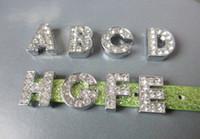 Wholesale 130pcs MM English Alphabet A Z full rhinestone slide letters charm diy accessories fit pet dog collar women bracelet