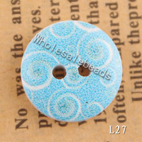 Wholesale Hot Flower Printed Wooden Buttons Floral Painting Wood Round Bead fit Clothes Accessories Sewing Embroidered or DIY Craft Flatback