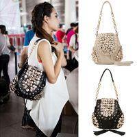Wholesale Fashion Korean Women s PU Leather Crossbody Messenger Bag Women Button Tassel Punk Designer Shoulder Bag Backpack H10110