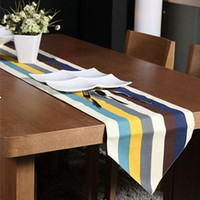 Wholesale European style Fashion Canvas Table Flag Two Sides Available Mix Colors Stripe Pattern Table Runner jhzhq1