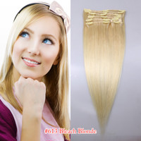 120g Mix Color Brazilian Hair 100% hair extensions human remy hair brazilian 8 head clips in on 18' inch color #60 #613 #6613 #M4613 #18613 #27613 120g free shipping