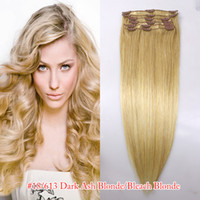 135g Mix Color Brazilian Hair Hair extensions human remy hair brazilian 8 head clips in on 22' inch color #60 #613 #6613 #M4613 #18613 #27613 #99j free shipping