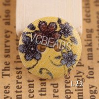 Buttons wood craft - Hot Flower Printed Wooden Buttons Floral Painting Wood Round Bead fit Clothes Accessories Sewing Embroidered or DIY Craft Flatback