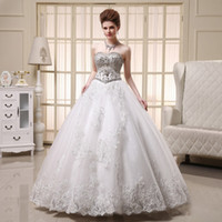 Wholesale High Quality Sexy Crystal Wedding Dresses Sweetheart Lace Up Beaded Sweep Train A Line Sheer Bridal Gowns Church Wedding Bride Applique