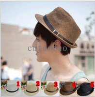 Wholesale Fashion Womens Mens Unisex Fedora Trilby Gangster Cap Summer Beach Sun Straw Panama Hat Couples Lovers Hat FREESHIPPING