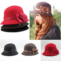 Wholesale 2014 New Autumn and Winter Elegant Women s Fashion Cap Ladies Flower Rose Bucket Hat Women Small Fedoras Hat Cloche Headwear H3125
