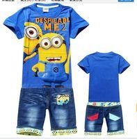 Boy Summer Short High quality Children's clothing 2014 new summer despicable me minions kids sets boys t-shirt+jeans suits wholesale