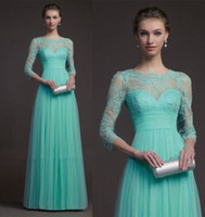 Reference Images Crew Tulle 2014 Turquoise Lace Prom Dresses Crew Neck 3 4 Long Sleeve Tulle Illusion Floor Length Pleats Empire Party Formal Hollow Back Evening Gowns