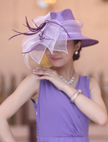 Purple straw hat fashion straw hat fedora straw hat - Fancy hat for women women hats fashion straw hat summer hat two tone color fedora organza feather new arrivals laides elegant hat