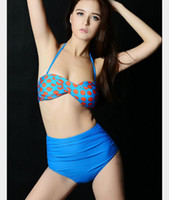 bandeau tie back bikini - New Arrived Women Lady High Waist Bikini Sets Back Tied Halter bandeau Swimwear Swimsuit Bathing Suit Beachwear Summer Wear Mix Color