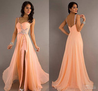 Wholesale LM HOT Wedding Dresses Peach Coral Sweetheart Cute Crystal Beaded Sequins Slit Side Evening Dresses Prom Pageant Formal Party Dress