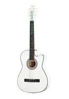 Wholesale Beautiful Sound Handmade Acoustic Guitar With Hardshell Case White Color Classical Cutaway Chinese Guitar