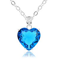 australia pendant - 10pcs Luckyshine Special Gift Fire Honey Heart Blue Topaz Gem Sterling Silver Plated Russia Australia USA UK Wedding Pendants Necklaces
