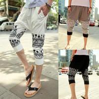 Wholesale Stylish Capris - Men Drop Crotch Harem Pants Skinny Sweatpants Stylish Summer Pants Hip Hop Bohemian Trousers R95 Asian Tag Size M-4L salebags