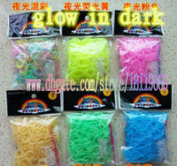 Wholesale Popular DIY Toys rubber Sclips hook set noctilucent Rainbow loom Silicone band Rubber Band glow in the dark Bands Hot