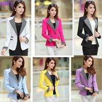 xxl clothes - Women s plus size clothing slim one button long sleeve blazer outerwear ladies black blue rose yellow M L XL XXL XXXL blaser