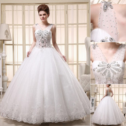 Wholesale Actual Images Sheer Wedding Dresses V Neck Lace Up Backless Beading Crystal Lace High Quality Bridal Gowns Church Wedding Bride Custom