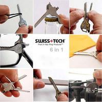 Wholesale Swiss Tech Tools Wholesale - Hot sale Swiss Tech Tools Utili Key Pocket Knife 6 in 1 Multi tool keychain Folding Knife K07480
