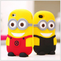 Wholesale New Arrivals lovely Despicable Me Minions silica gel iphone4 iPhone4s mobile phone shell