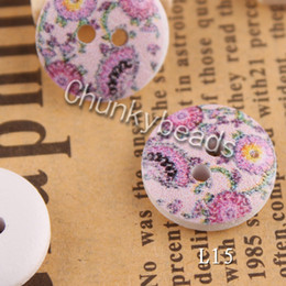Wholesale Cute Wood Flower Printed Wooden Buttons Floral Painting Wood Round fit Clothes Accessories Sewing Embroidered or DIY Craft Flatback