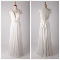 Wholesale 2014 Wonderful Pleats Sequin V Neck A Line Short Sleeves Long Length Wedding Dress Wedding Grown